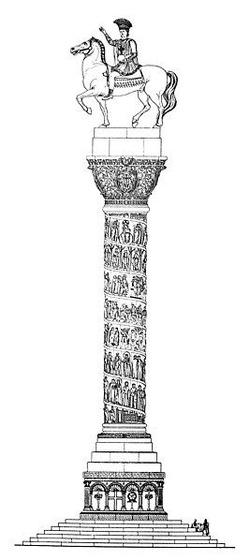 Wyobrażenie Kolumny Justyniana – wokół kolumn wznoszonych w Konstantynopolu na cześć cesarzy, krążyło wiele legend i przepowiedni. Jedna z nich głosiła, że prawa ręka na posągu cesarza Justyniana wzniesiona na wschód, wskazuje kierunek, z którego przybędą ostateczni wrogowie cesarstwa (domena publiczna).
