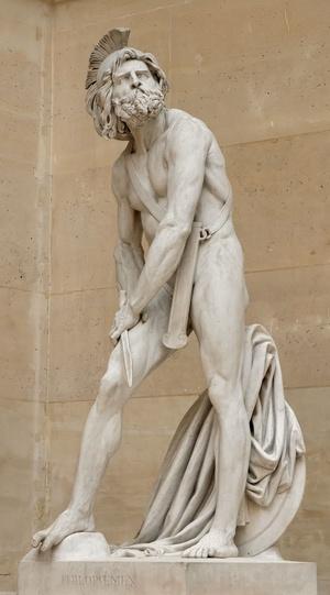 """Ranny Filopojmen"", rzeźba Davida d'Angersa, 1837 r., domena publiczna"
