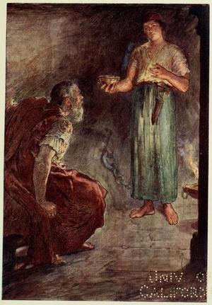 """Filopojmen w więzieniu"", ilustracja z ""Plutarch's lives for boys and girls : being selected lives freely retold"", 1900 r., domena publiczna"