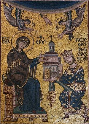 Wilhelm II Dobry de Hauteville (1153-1189) – mozaika w bizantyńskim stylu z katedry w Monreale, przedstawiająca króla Sycylii Wilhelma II ofiarującego kościół Matce Bożej (fot. José Luiz Bernardes Ribeiro, udostępniono na licencji: [CC BY-SA 4.0](https://creativecommons.org/licenses/by-sa/4.0/)).