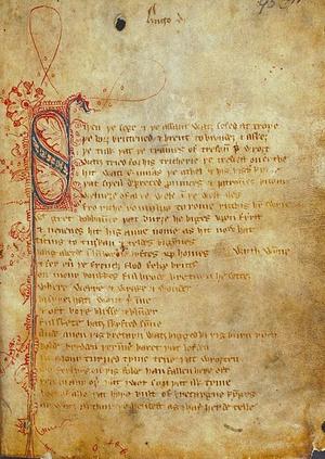Fragment manuskrytpu ze zbiorów British Library (domena publiczna).