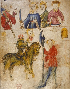 Rycina przedstawiająca głównych bohaterów poematu na oryginalnym manuskrypcie. Po lewej stronie na dole widoczny Zielony Rycerz (domena publiczna).