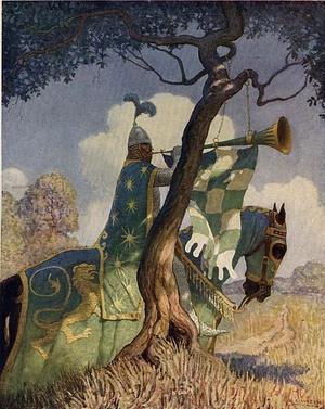 Wyobrażenie Zielonego Rycerza z 1922 roku (domena publiczna).