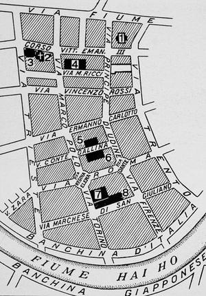 Mapa przedstawiająca teren włoskiej koncesji w Tiencinie (domena publiczna)