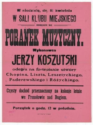 Afisz zapraszający na koncert Jerzego Koszutskiego. Prawdopodobnie lata 20. XX wieku (Biblioteka Narodowa)