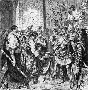 Romulus Augustus przed Odoakrem (domena publiczna)