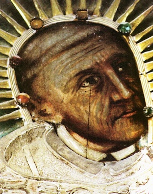Błogosławiony Wincenty Kadłubek. Fragment obrazu olejnego anonimowego artysty, wiszącego nad relikwiarzem w kościele klasztornym w Jędrzejowie, domena publiczna