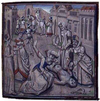 Ilustracja z kroniki Wilhelma z Tyru przedstawiająca kaźń Andronika I Komnena (domena publiczna).