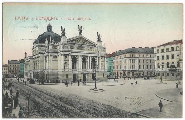 Teatr Wielki we Lwowie na pocztówce z początku XX wieku (domena publiczna).
