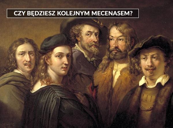 """Ilustracja w tle: obraz Johana Gustafa Sandberga """"Pięciu artystów"""""""