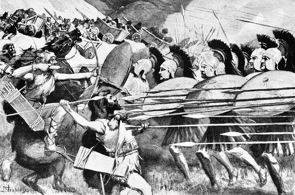 """Falanga macedońska, wyobrażenie z """"The story of the greatest nations, from the dawn of history to the twentieth century"""", 1900 r., domena publiczna"""