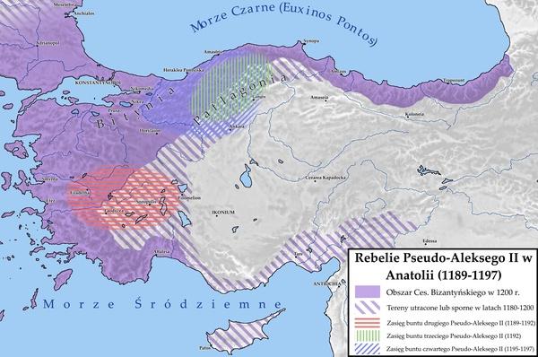 Rebelie Pseudo-Aleksego II na tle bizantyńskiej Anatolii w latach 1180-1200. (Autor mapy: Paweł Lachowicz).