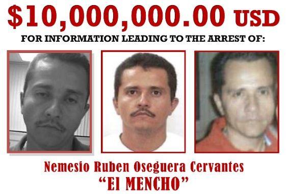 """Wizerunek """"el Mencho"""" i nagroda oferowana za pomoc w jego aresztowaniu (domena publiczna)"""