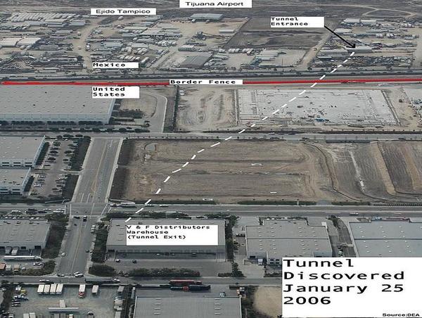 """Lokalizacja tunelu, którym """"el Chapo"""" przemycał narkotyki z Meksyku do Stanów Zjednoczonych (domena publiczna)"""