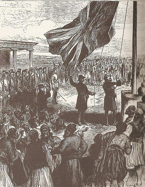Zawieszenie brytyjskiej flagi w Nikozji, 1878 rok, źródło: Illustrated London News, domena publiczna