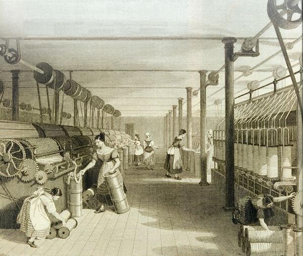 Przędzalnia bawełny w Manchesterze, ok. 1834 r., domena publiczna