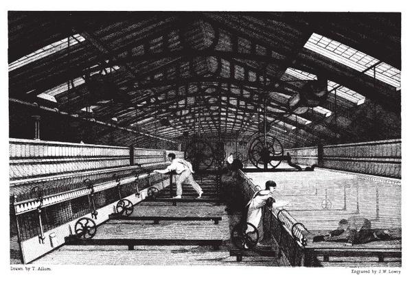 Angielska przędzalnia bawełny w 1835 roku, domena publiczna