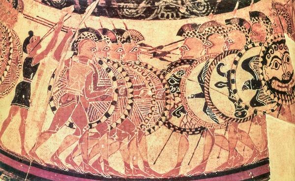 Starcie dwóch falang zobrazowane na Wazie Chigi, datowanej na ok. 650–625 p.n.e., domena publiczna