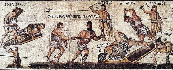Starożytna mozaika przedstawiająca gladiatorów