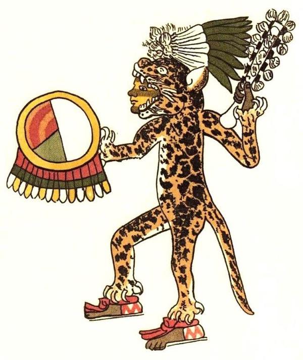 Wojownik – jaguar. Ilustracja z Codex Magliabechiano