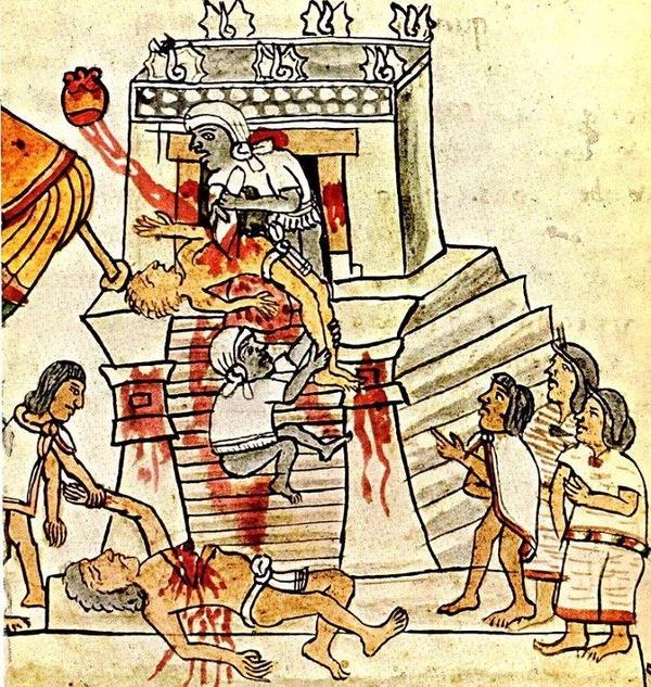 Aztecki rytuał składania ofiar z ludzi. Ilustracja z Codex Magliabechiano
