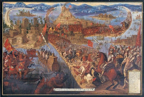 Podbój Tenochtitlán. Obraz nieznanego autorstwa