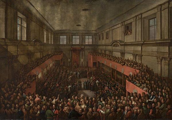 Uchwalenie Konstytucji 3 maja 1791 roku, obraz Kazimierza Wojniakowskiego z 1806 roku (domena publiczna).