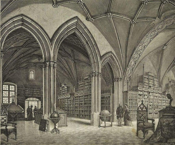Sala główna Biblioteki Jagiellońskiej (drzeworyt Feliksa Zabłockiego z 1871 roku)