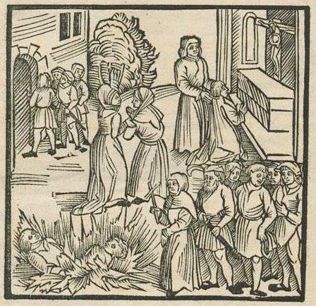 Pogrom żydów w Lizbonie w 1506 roku na niemieckim drzeworycie