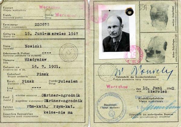 Kennkarta Władysława Siła-Nowickiego z 1942 roku