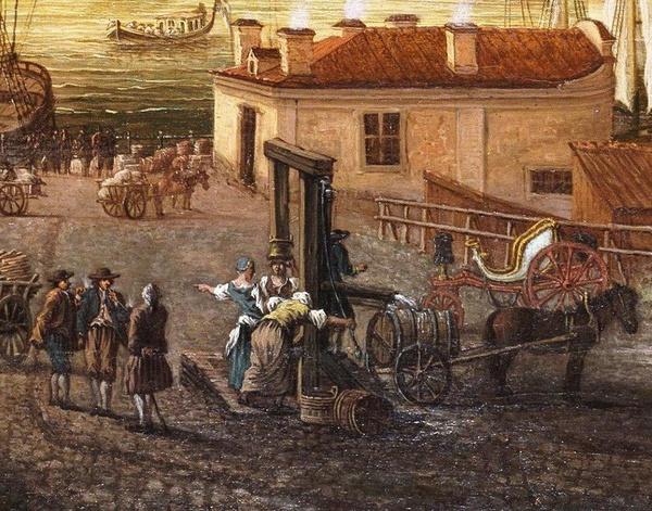 Studnia na Brunnsbacken, 1773 rok (mal. Johan Sevenbom)