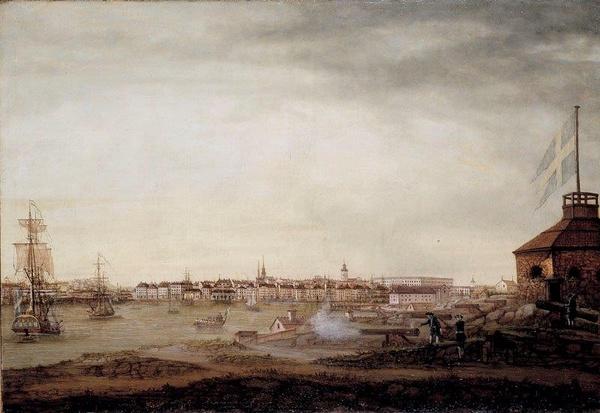Widok z Brunnsbacken na Saltsjön w 1773 roku (mal. Johan Sevenbom)
