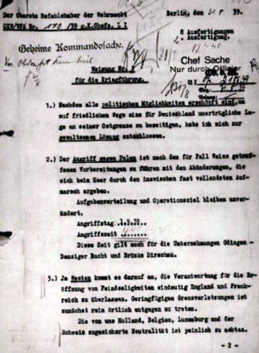 Pierwsza strona rozkazu Adolfa Hitlera z 31 sierpnia 1939 roku o terminie rozpoczęcia niemieckiej agresji na Polskę