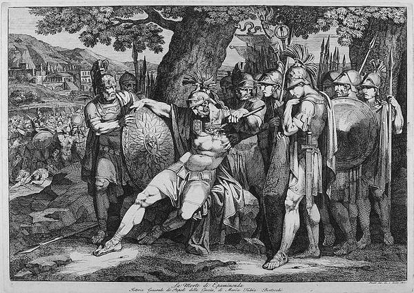 Śmierć Epaminondasa, aut. Bartolomeo Pinelli, domena publiczna