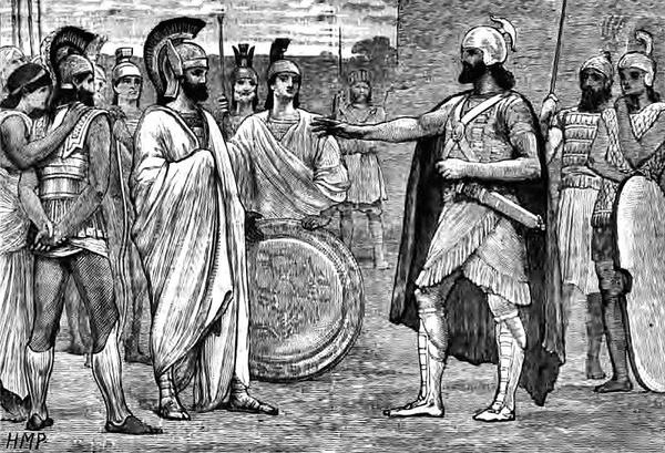 Spotkanie Agesilaosa z perskim Satrapą, aut. Edmund Ollier, domena publiczna