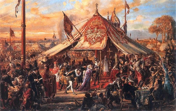 Wolna elekcja: Potęga Rzeczypospolitej u zenitu. Złota wolność. Elekcja R.P. 1573, obraz Jana Matejki, domena publiczna