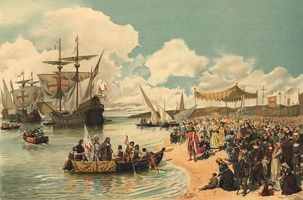 Vasco da Gama opuszcza port w Lizbonie, obraz Roque Gameiro (domena publiczna)