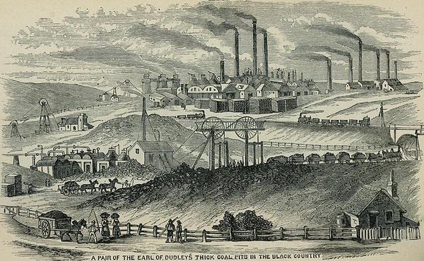 Rycina przedstawiająca Black Country w okresie rewolucji przemysłowej (domena publiczna)