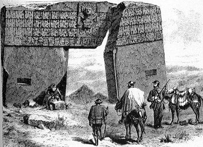 Brama Słońca w Tiwanaku - rysunek 1877 r. (domena publiczna)