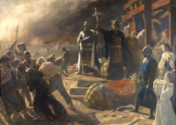 Biskup Absalon obala posąg Świętowita w Arkonie (domena publiczna)