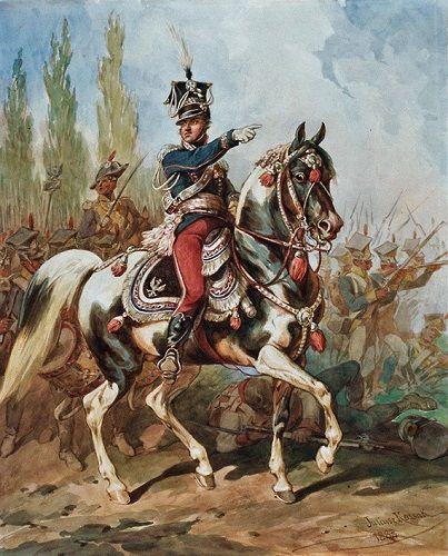 Gen. Jan Henryk Dąbrowski na czele Legionów Polskich we Włoszech (Juliusz Kossak, domena publiczna)