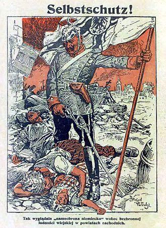 Metody samoobrony Selbstschutzu w czasie powstań śląskich w karykaturze Kocyndra z 1921 roku (domena publiczna)