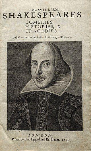 Strona tytułowa Pierwszego Folio, wydanego w 1623 roku (domena publiczna)
