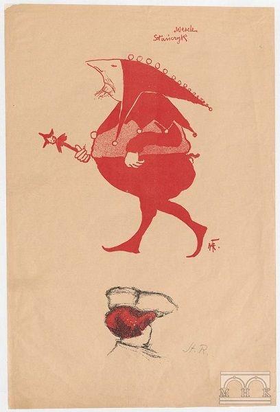 Michał Przybyłowicz jako Stańczyk, Teka Melpomeny, litografia, 1904