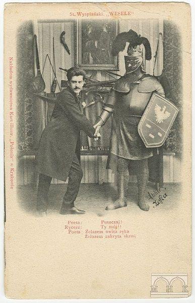 """Pocztówka z prapremiery wykonane w Atelier """"Zofia"""", 1901, Poeta (Jan Pawłowski), Rycerz (Marian Jednowski)"""