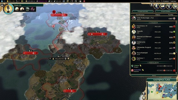 """Standardowy widok w """"Sid Meier's Civilization V"""". Polska jest jednym ze światowych mocarstw"""